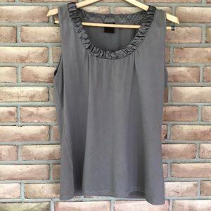 Ann Taylor size L gray tank top with silk neckline